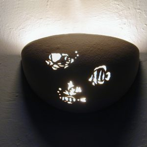 Small Bowl Up Light-Aquatic Fish Design-Linen color-Indoor