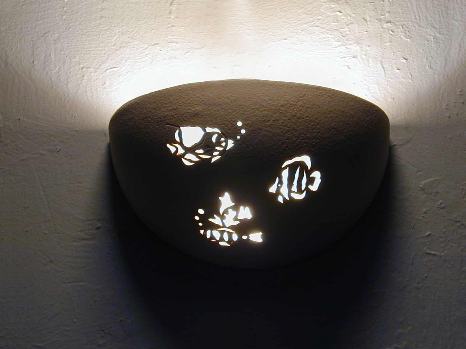 Small Bowl Up Light-Aquatic Fish Design-Linen color-Indoor
