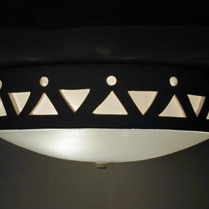 Flush Mount Ceiling Fixture w/Tribal Drum Border Design, in Tan color