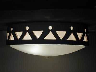 Tribal Drum Border-Tan-Flush Mount Ceiling Fixture