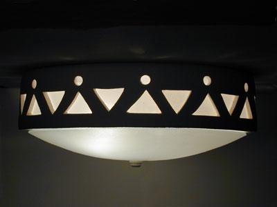 Tribal Drum Border-Tan-Flush Mount Ceiling Fixture-Southwest Style
