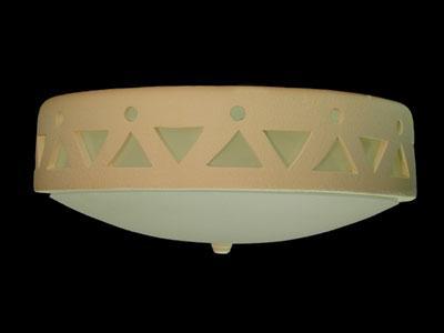 Flush Mount Ceiling Fixture w/Tribal Drum Border Design, in Tan color
