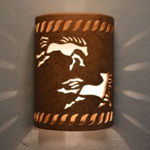 12″ Open Top - Wild Horses w/Rope Border in Brown Mica color - Indoor/Outdoor