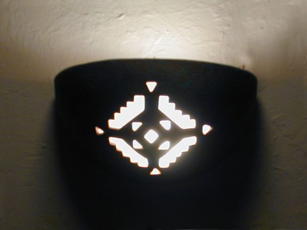 Small Bowl Up Light - Geometric Design, Raw Turquoise color - Indoor/Covered Outdoor