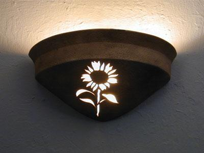 Half Bell Up Light-Sunflower Design-Parchment color-Indoor