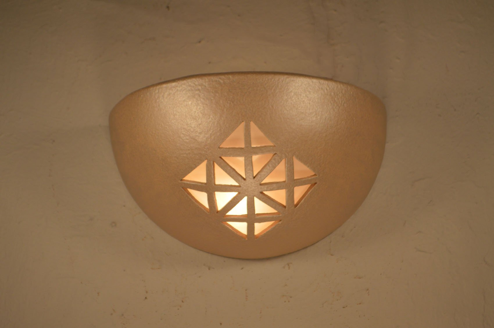 Quadra Design Small Bowl Up Light Wall Sconce in Tan Pearl Color for the Modern or Contemporary Indoor