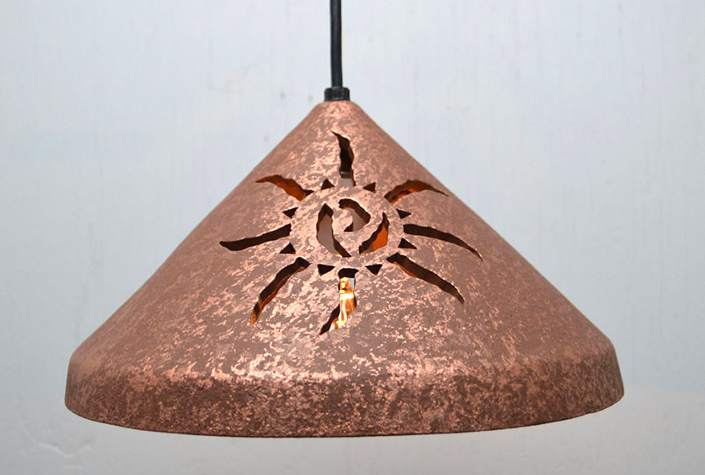 Ancient Sun(x2)-Rust Mica-Black Cord-Indoor Only-12″ Cone Shaped Pendant Light