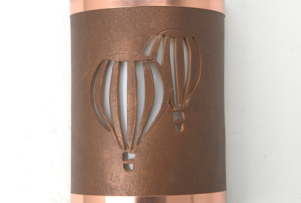 Twin Balloon-Antique Copper-Raw Copper Bands-Indoor-Outdoor-12″ Low Profile ADA Closed Top (Dark Sky) Half Round