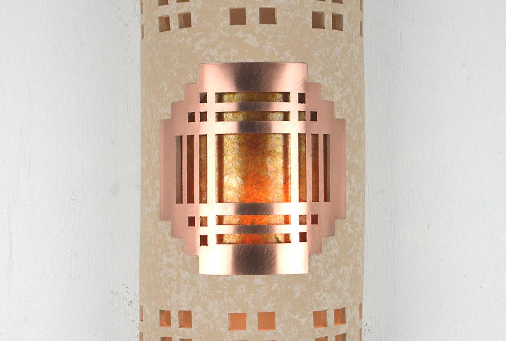Mission Copper Cover-Windows Borders-Silver Mica Lens-Tan Tone-Indoor-Outdoor-14″ Closed Top (Dark Sky) Half Round