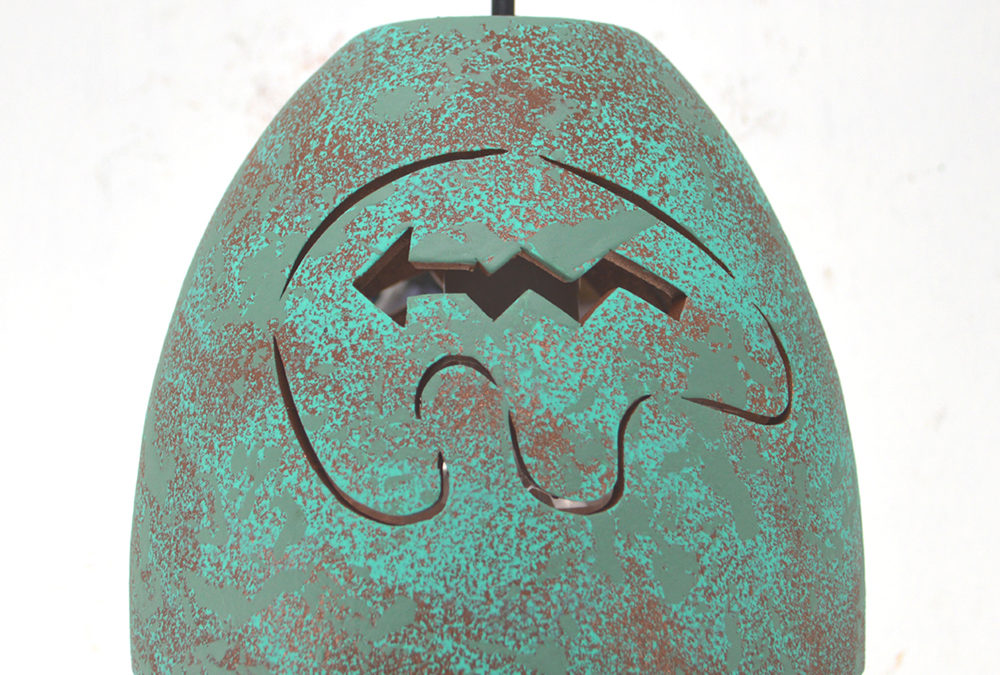 "Spirit Bear – Raw Turquoise -Indoor – 6"" Pot Pendant"