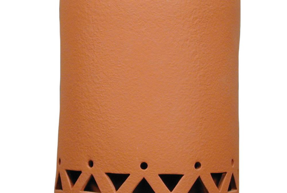 Tribal Drum Border 9″ Open Top Half Round-Terracotta-Indoor-Outdoor-Made in America