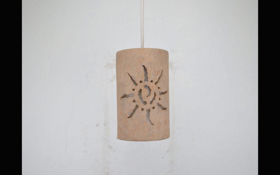 Southwest Ancient Sun design 9″ Tall Pendant-Sandstone color-Interior White cord 161 222 653 91W
