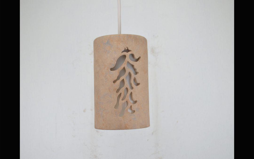 Southwest Chile Ristra designed 9″ Tall Pendant-Sandstone color-Interior-White cord 161 320 653 91W